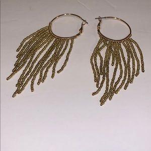 Anthropologie Chandelier beaded hoop earrings